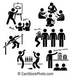 fête, récréatif, jeux, clipart