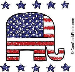 fête, républicain, croquis, éléphant