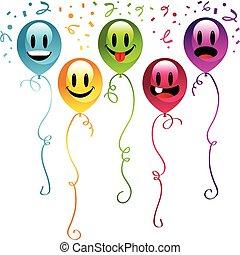 fête, smiley, ballons
