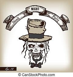 fête, stylle., crâne, heat., horreur, main, invitation, dessiné, malade