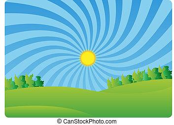 f, paysage, vert, idylle, pays