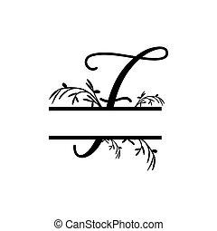 f, plante, initiale, vecteur, monogram, fente, lettre, décoratif