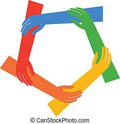 f, projection, vecteur, cinq, mains, anneau