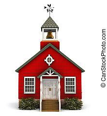 façade, école, rouges