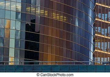 façade bâtiment, gratte-ciel, bureau