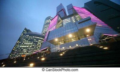 façade bâtiment, moderne, bureau, nuit