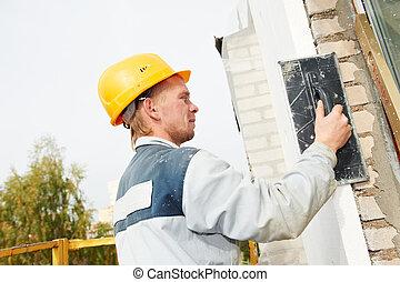 façade, constructeur, ouvrier, plâtrier