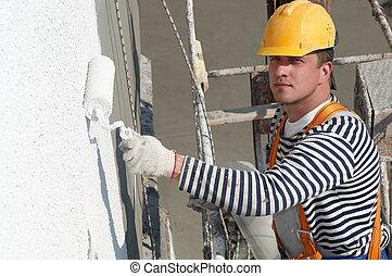 façade, constructeur, travail, peintre