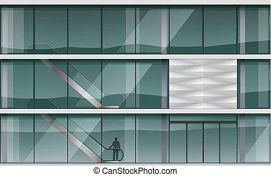 façade, moderne, centre commercial