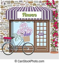 façade, pierre bâtiment, magasin, fleur