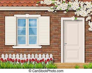 façade, tulipes, fenêtre, brique, barrière