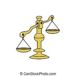 façonné, peser, coloré, balances., ligne, symbole., isolé, metrics, vecteur, fond, mesure, vieux, blanc, icon., illustration.