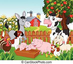 fa, animal, collection, dessin animé