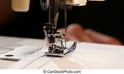 fabric., lent, fil, couture, mouvement, noir, blanc