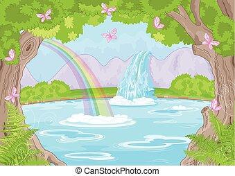 fabuleux, chute eau