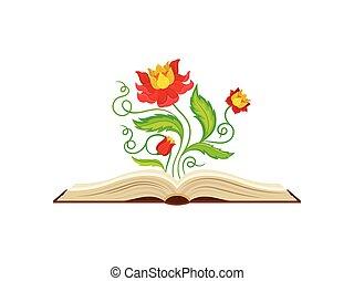 fabuleux, formulaire, milieu, jaune, arrière-plan., vecteur, illustration, fleurs blanches, rouges, crown.