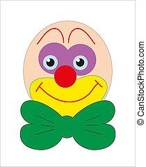 face., clown, smiley., vector.