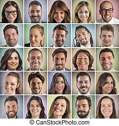 faces, coloré, sourire, collage
