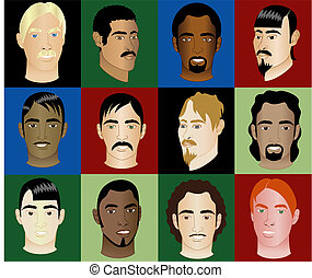faces, hommes, 12, 2