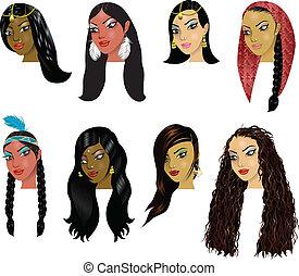 faces, indien, femmes, arabe