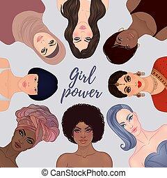 faces, isolé, différent, vector., ethnicity., femme, power., girl, femmes, divers, movement., illustration, habilitation