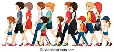 faces, sans, gens marcher