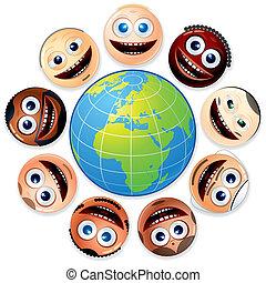faces, smiley, coloré, autour de, globe.