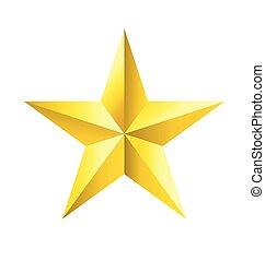 facetté, étoile, or, vecteur