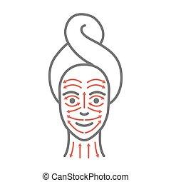 facial, dessiné, visage femme, masage, lines., yoga