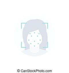 facial, reconnaissance, icône, vecteur, balayage face, blanc