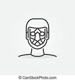 facial, reconnaissance, ligne, vecteur, icon., face homme, détection, signe