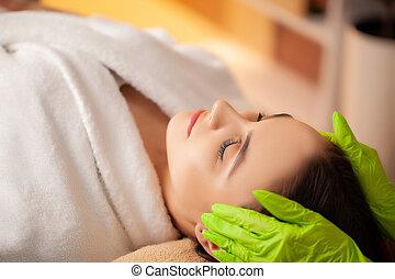 facial, salon, spa, masage, joli, femme, réception