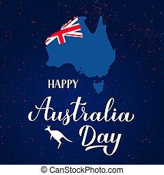 facile, australie, australien, flyer., main, carte, vecteur, lettrage, calligraphie, carte, typographie, flag., affiche, heureux, kangourou, bannière, gabarit, silhouette, salutation, jour, éditer