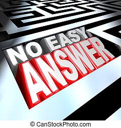 facile, non, résoudre, mots, réponse, labyrinthe, problème, surmonter, 3d
