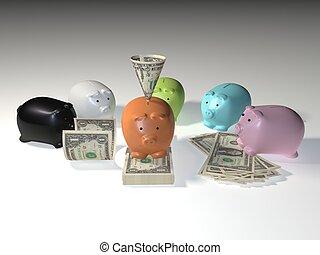 factures, porcin, dollar, américain, banque
