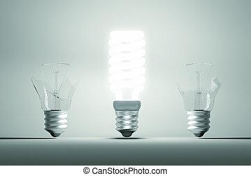 failure:, éclairé, deux, ones., idée, grand, cassé, ampoule, résolution, ou, erreur