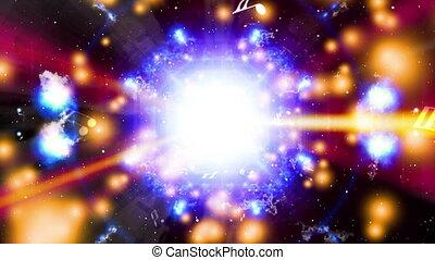 faire boucle, cosmique, résumé, cg, machine, lumières, musique, fond, animé