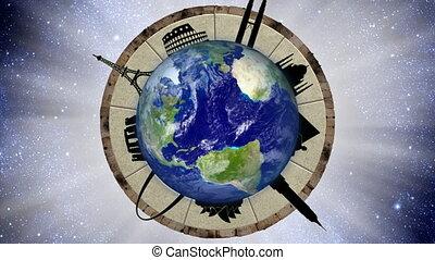 faire boucle, voyage, animation, mondiale