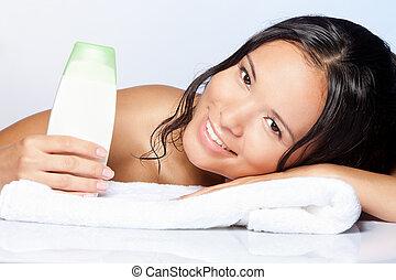 faire, droit, shampoing, gens, heureux
