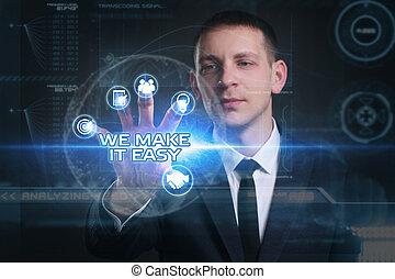 faire, nous, voit, réseau, fonctionnement, inscription:, concept., il, virtuel, jeune, avenir, facile, internet, homme affaires, business, écran, technologie