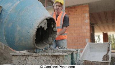 faire, ouvrier, site, ciment, matériel, construction