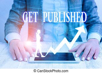 faire, public, disponible, published., projection, écriture, obtenir, photo, business, vue., matériel, showcasing, note, littérature