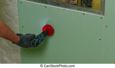 faire, rond, forage, trou, drywall, réparateur