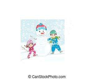 faire, snowman., enfants