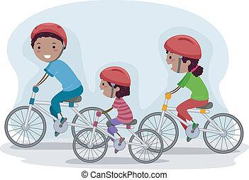 faire vélo, famille, ensemble