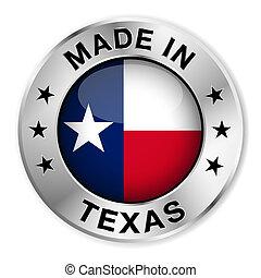 fait, écusson, argent, texas