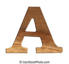 fait, alphabet, bois, isolé, arrière-plan., blanc