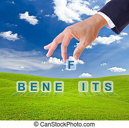 fait, avantages, business, main, boutons, mot, homme