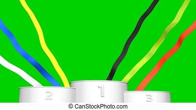 fait boucle, écran, arrière-plan., podium, animation, vert, sport, chromakey, 3d