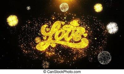 fait boucle, amour, carte, valentines, invitation, voeux, salutations, feud'artifice, célébration